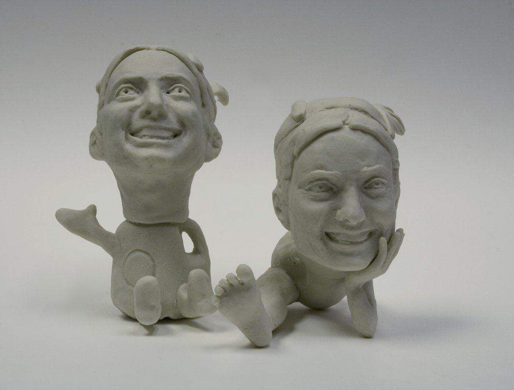 "Portrait of the Artist as a Commodity, #1.1, 1.2.    unglazed porcelain, 3"" h or less  Spring 2007"