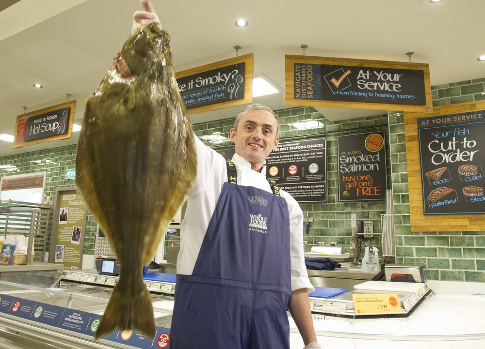 Fresh fish and meat department at Whole Foods Giffnock