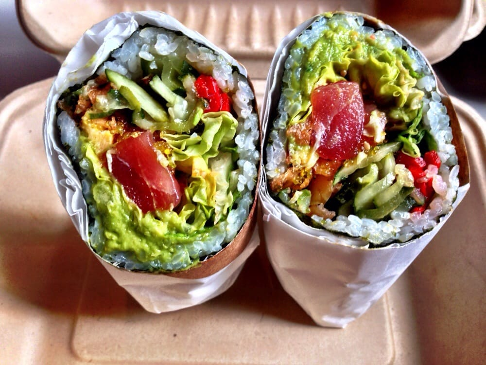 Geisha's Kiss from Sushiritto in SF – tuna, tamago, piquillo peppers, lotus chips, namasu cucumber, lettuce, ginger guac and yuzu.