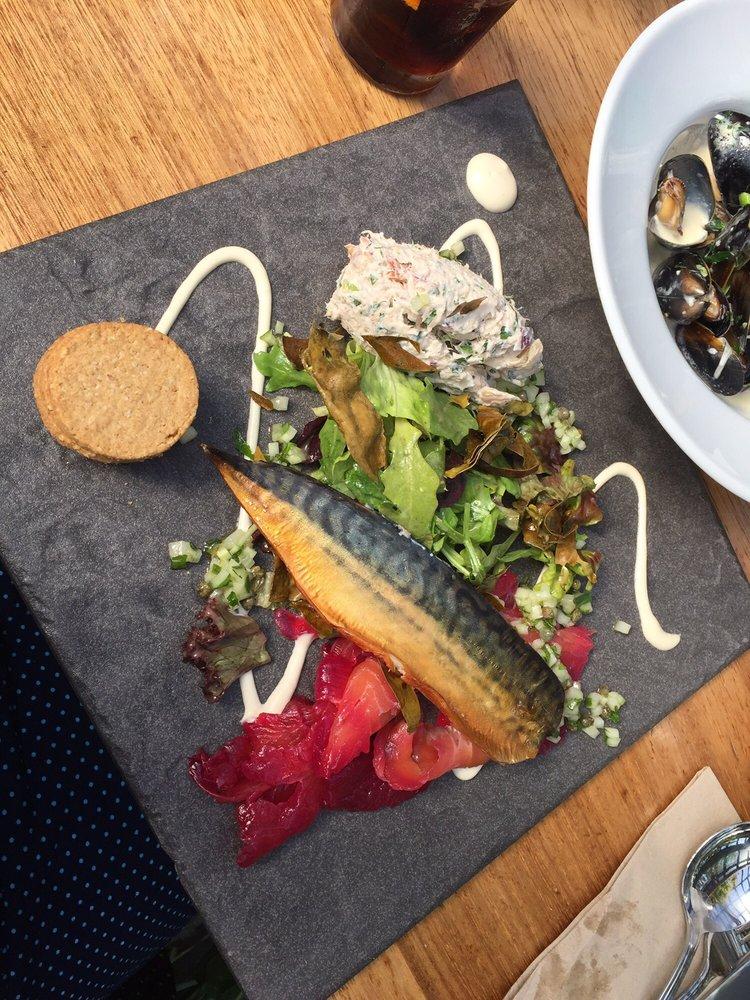 Aqua plate of seafood
