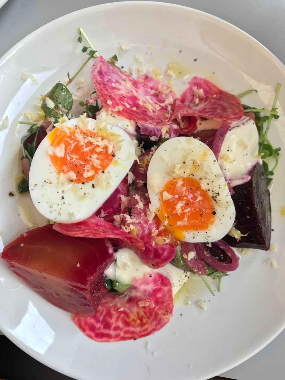 Beetroot, soft boiled egg, horseradish and créme fraiche