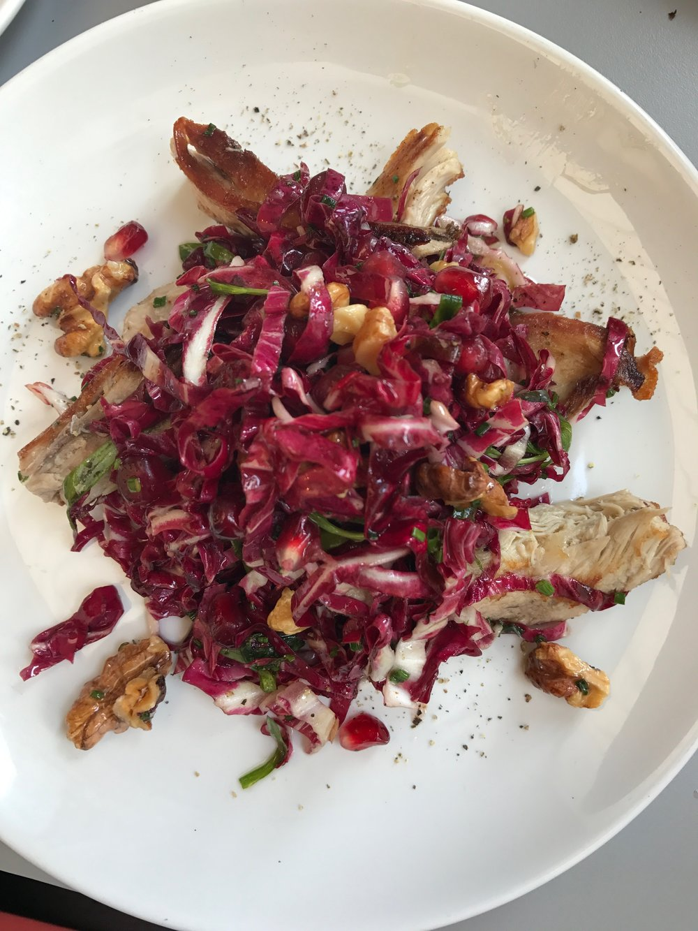 Pheasant, radicchio and pomegranate salad