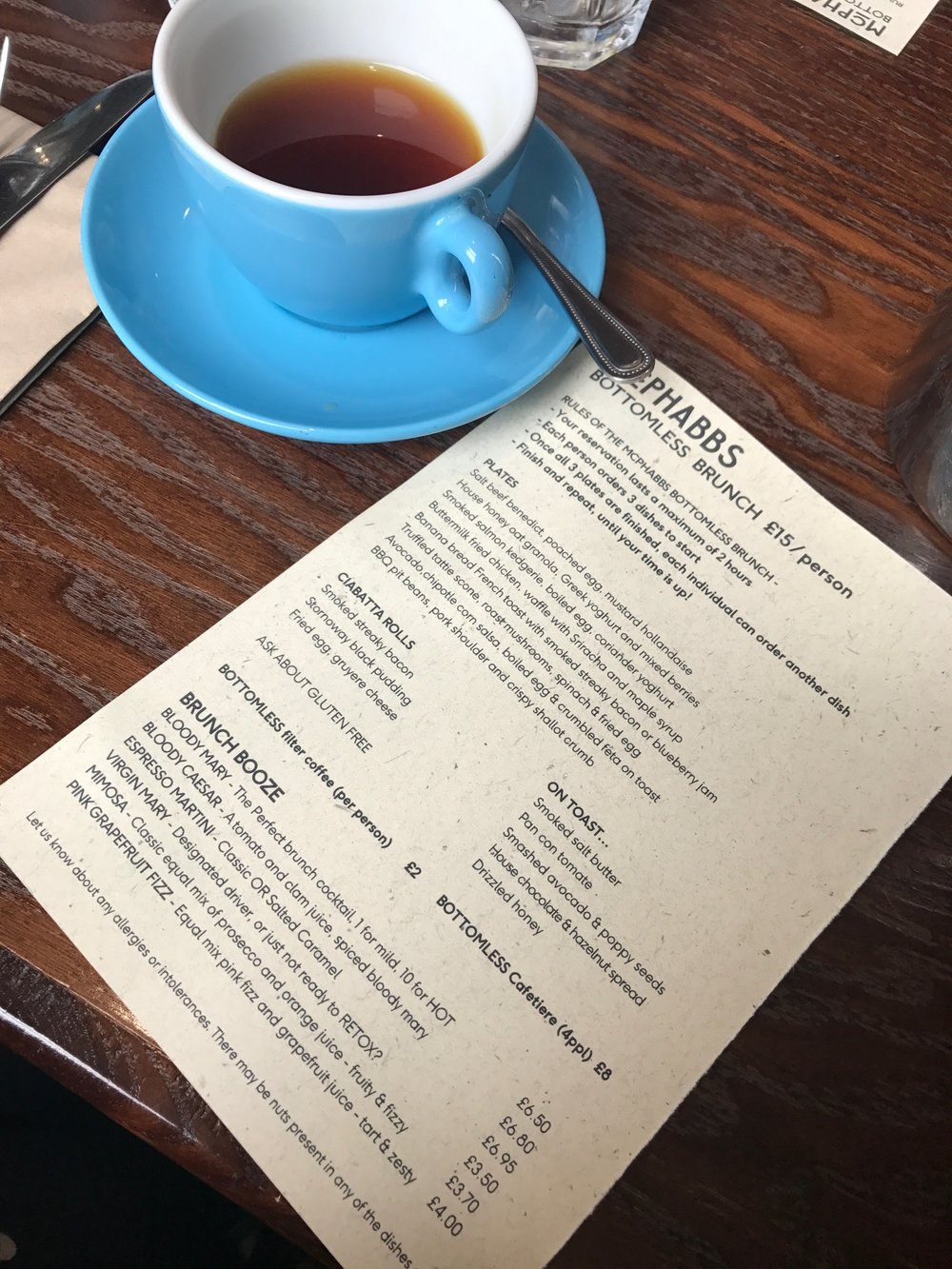 Bottomless brunch menu + filter coffee