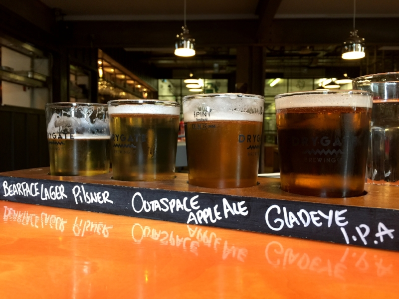 A flight of beers at Drygate