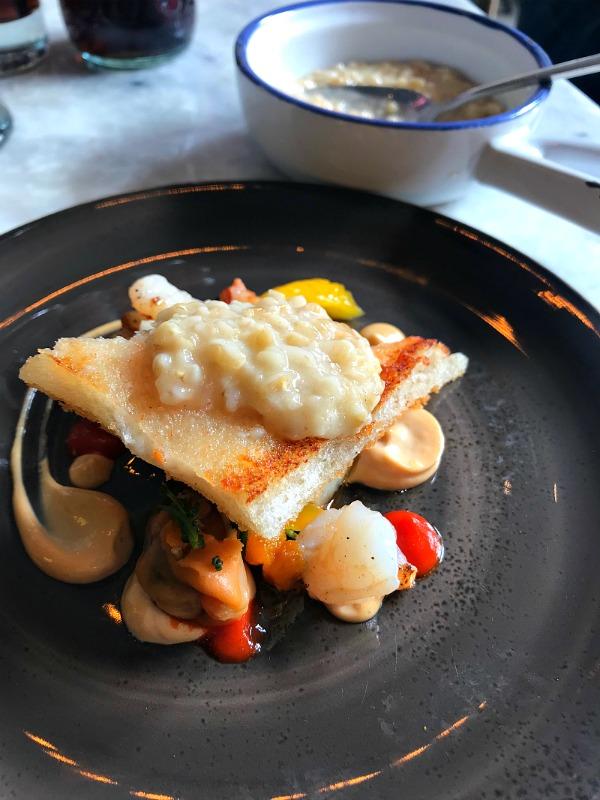 Prawn & mussels – shellfish bisque, pancetta, celeriac