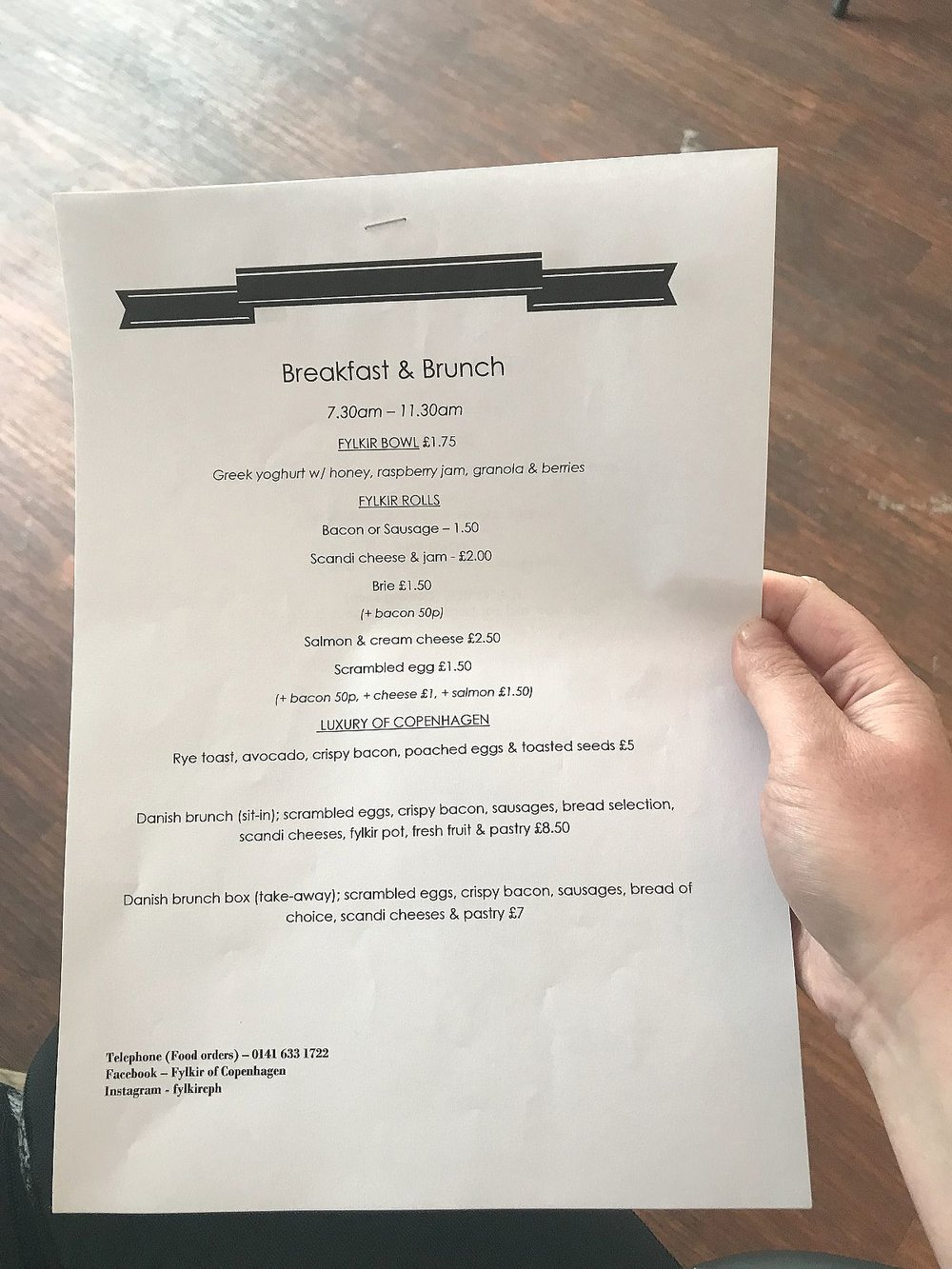 Fylkir of Copenhagen breakfast menu