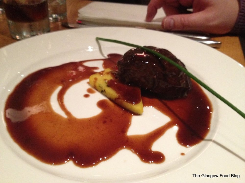 Slow braised Perthshire pigs cheek with herby polenta and Madeira sauce – Ian Brown Restaurant in Giffnock