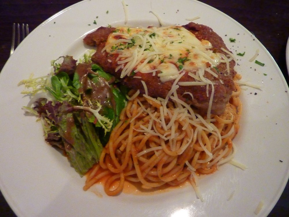 Vitello alla Parmigiana - veal escallope with napoli sauce and mozarella cheese £13.95