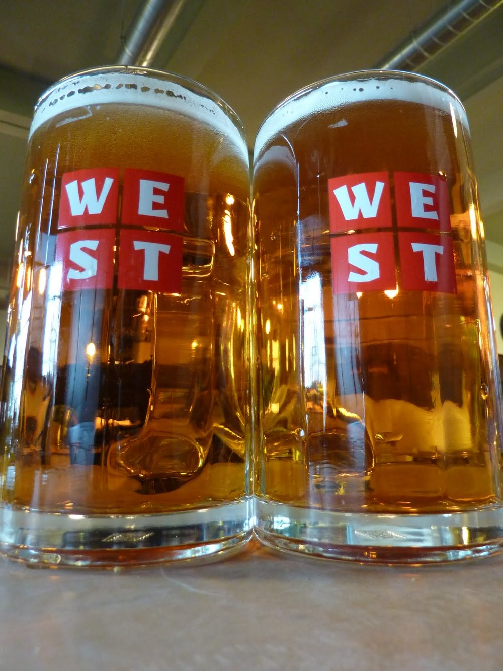 two pints of beer at west brewery in glasgow