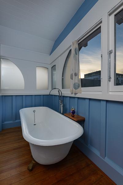 Oak Bathroom - Clawfoot Bath with curtains pulled.jpg