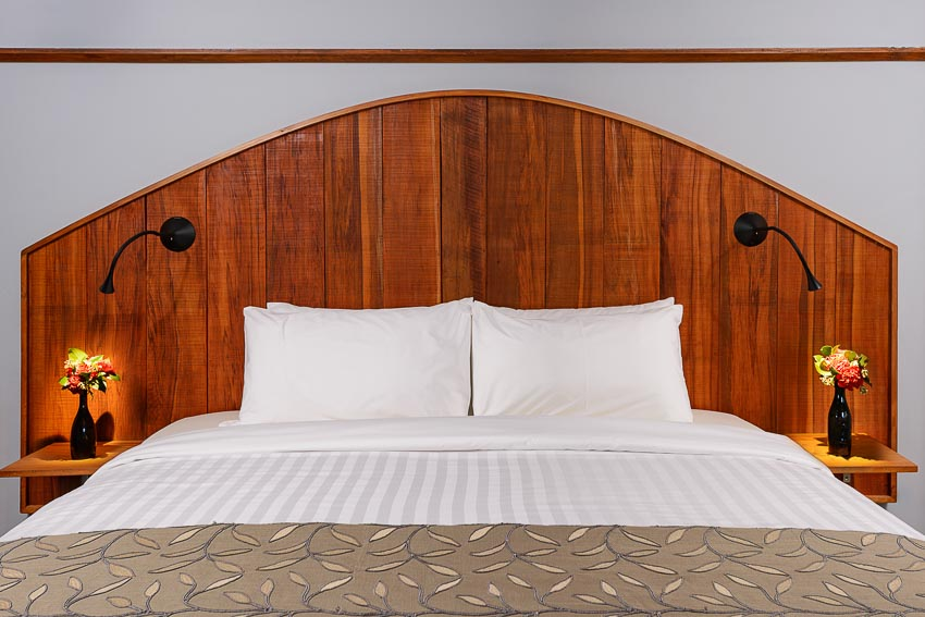 The Oak Super King Room upcycyled timber headboard Eco Villa Unique Christchurch Accommodation.jpg