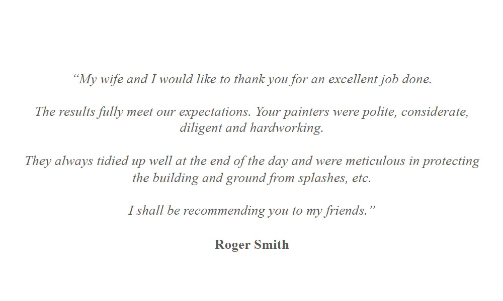 Hodgson's Decorators Homeowner Testimonial - Roger Smith.png