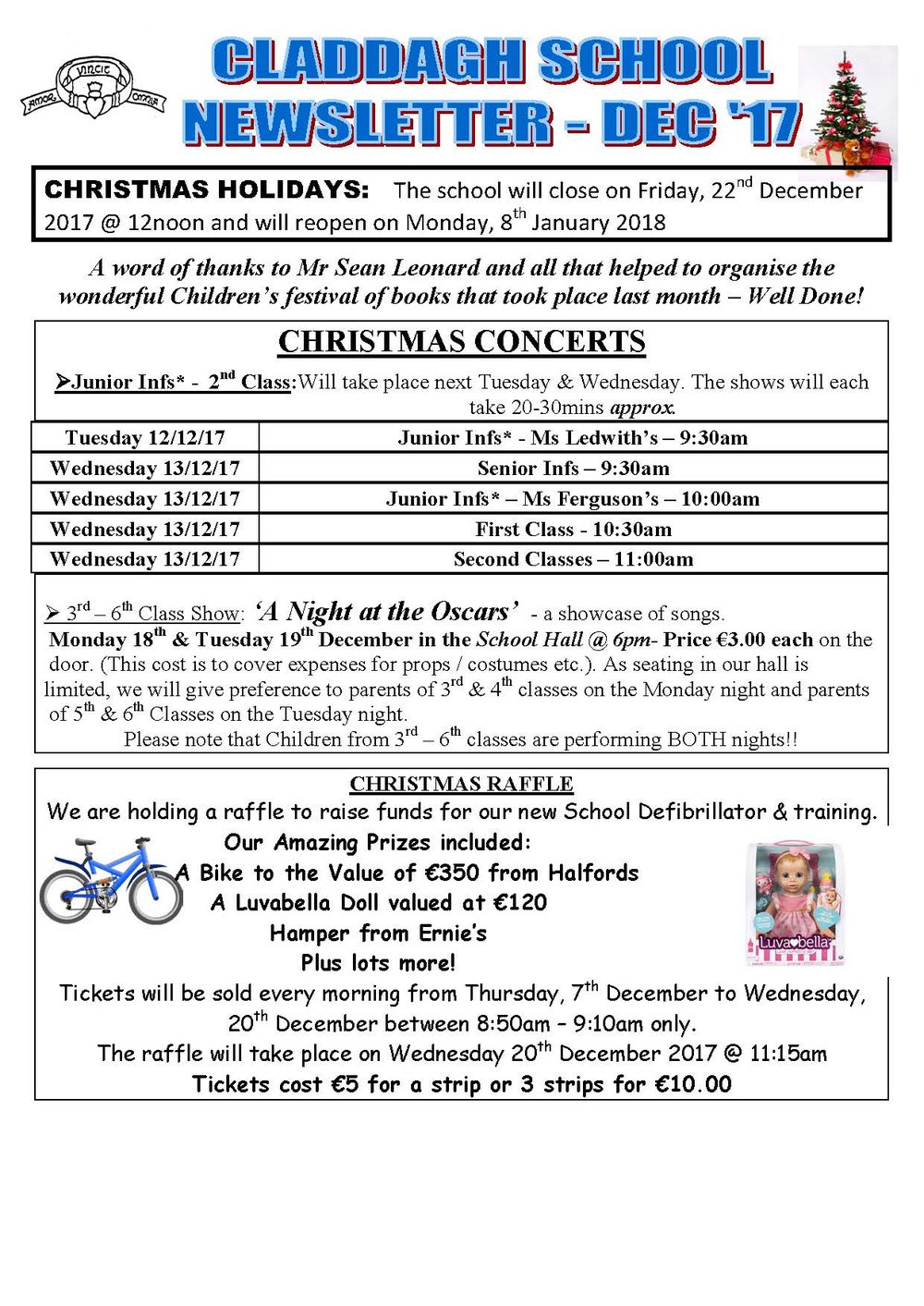Christmas Newsletter Concerts A Raffle And Holidays Claddagh National School Galway