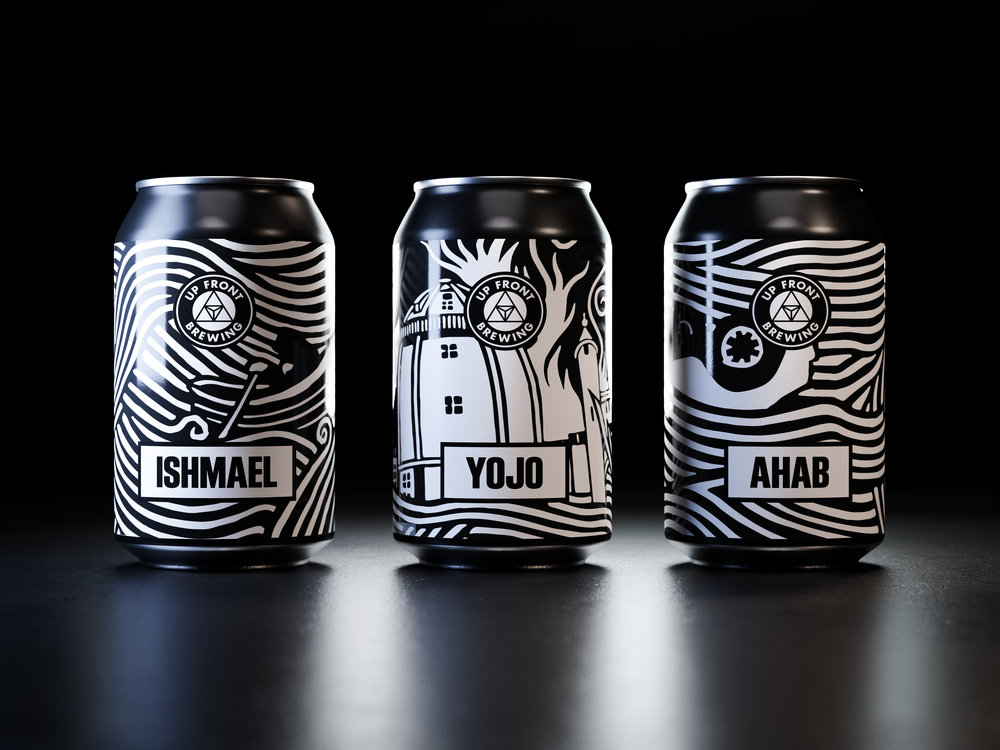 <b>Up Front Brewing</b><br>Pride of place is given to Stanley Donwood's distinctive linocuts on a new packaging range for Up Front Brewing's core beers.