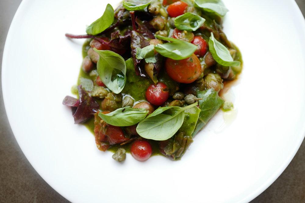 Borlotti Bean & Tomato Sharing Dish. Near Me at Ellory Michelin Star Restaurant, Hackney, East London
