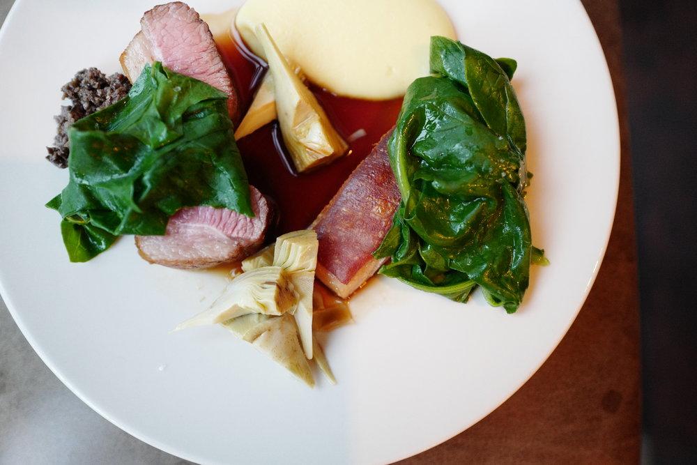 Lamb Loin & Artichoke. Near Me at Ellory Michelin Star Restaurant, Hackney, East London