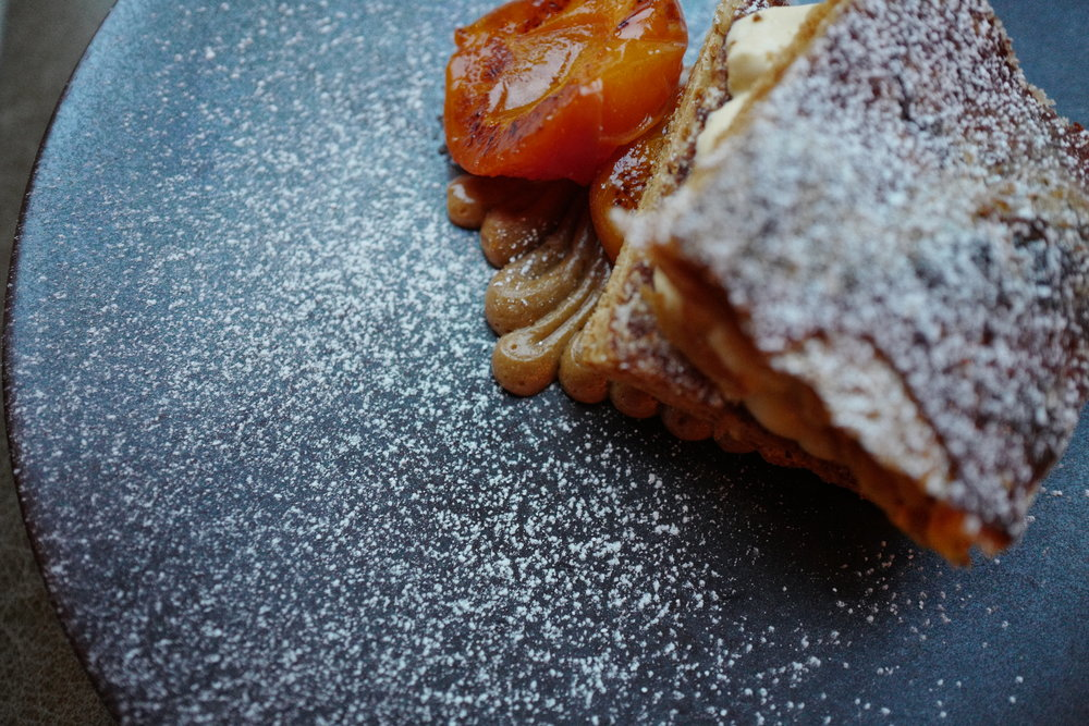 Caramel Millefeuille Sharing Dish. Near Me at Ellory Michelin Star Restaurant, Hackney, East London