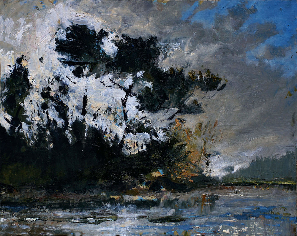 St Just - Half Tide Bright Autumn Sun and Big Cloud ( Oil on Panel ) 29 x 37 cm