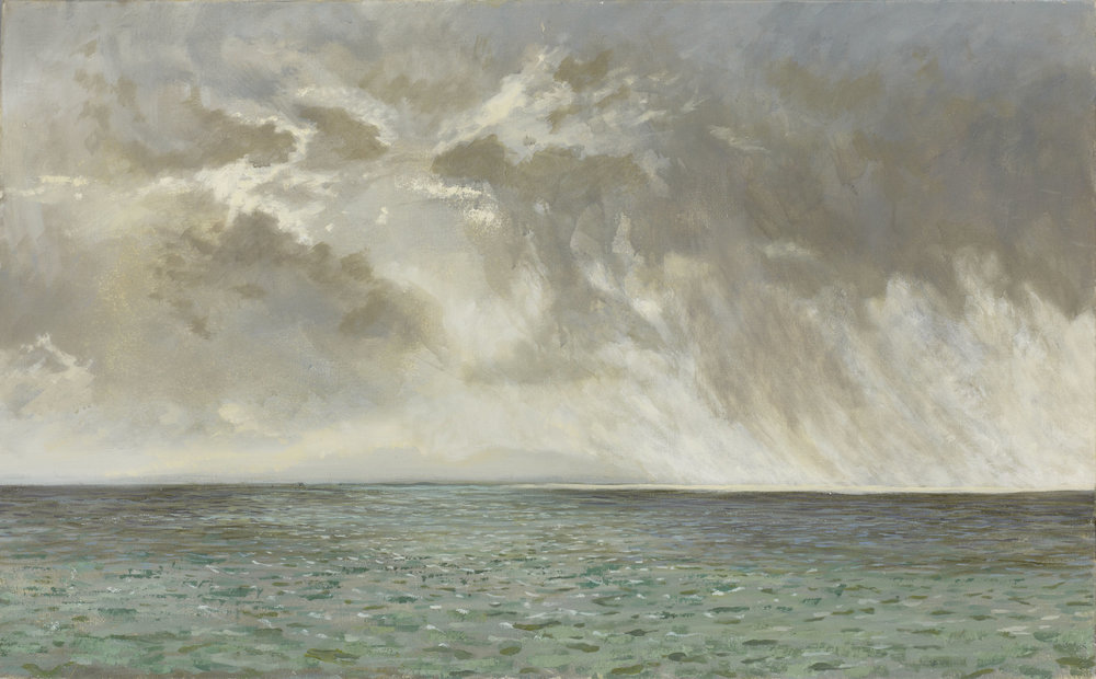 Rain passing over Colonsay ( Oil on Linen ) 65 x 105 cm