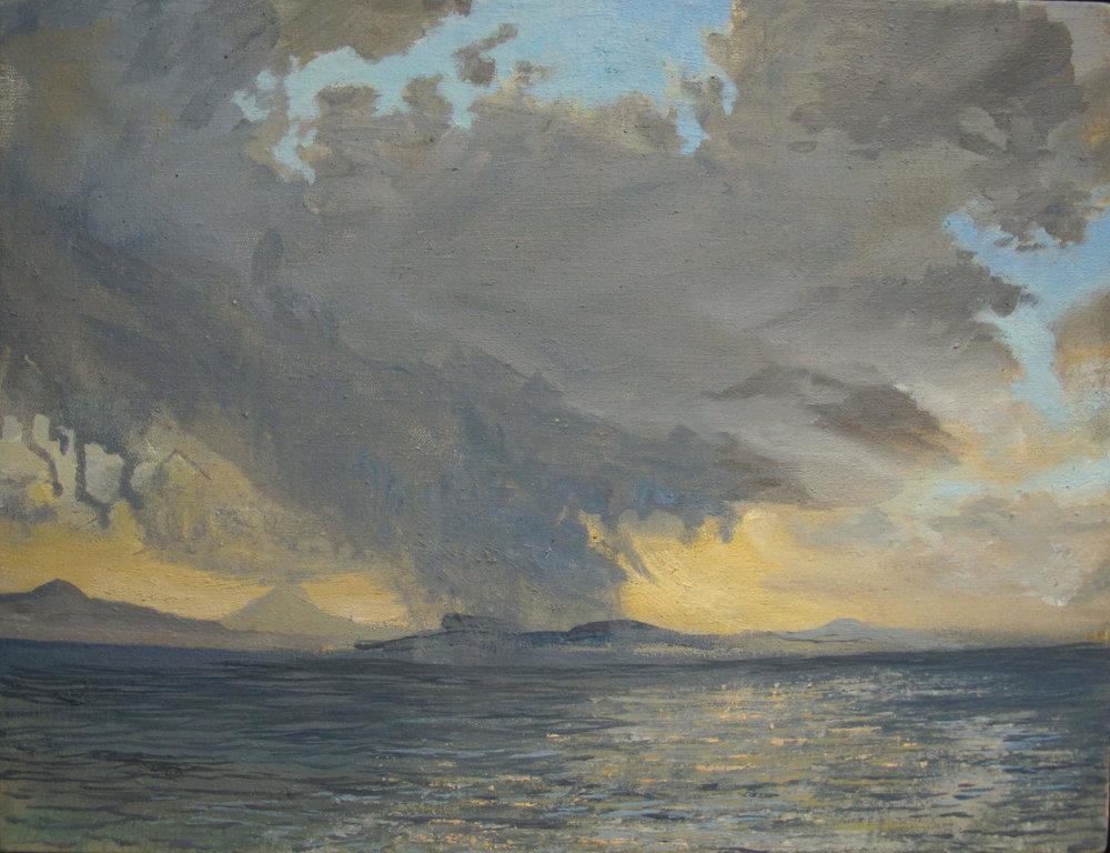 Colonsay Snow Storm ( Oil on Linen ) 36 x 46 cm