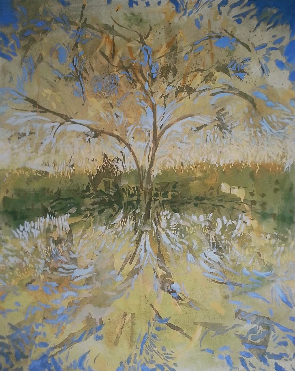 Evening Tree Reflection ( Oil on Linen ) 100 x 82 cm