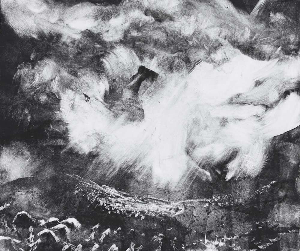 RHSK102 Tengudake and Cloud Light ( Monotype ) 31.4 x 38 cm