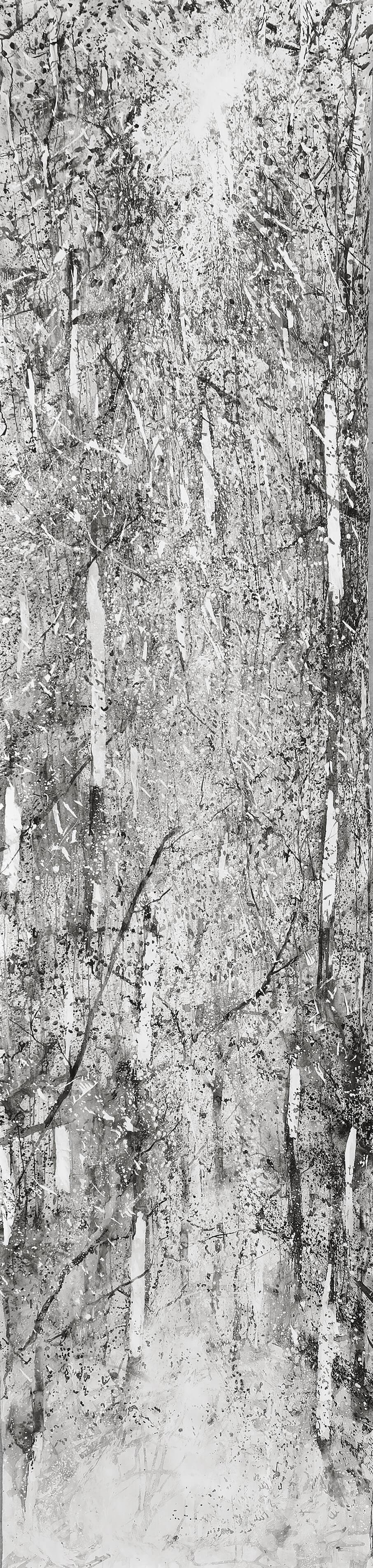 RHSK124 Descending Light in Tengudake Forest ( Ink on Paper ) 560 x 136 cm