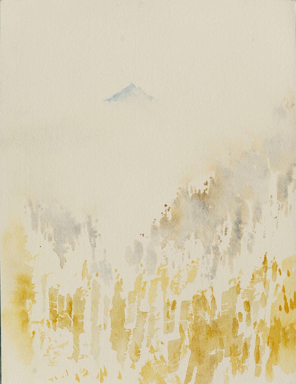 RHSK094 Ogura San Rising above Autumn Clouds ( Watercolour ) 36.8 x 28 cm