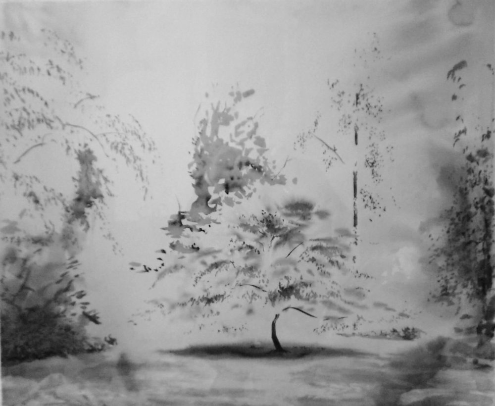 June Light on Trees - Einhaus ( Ink on Paper ) 65 x 85 cm