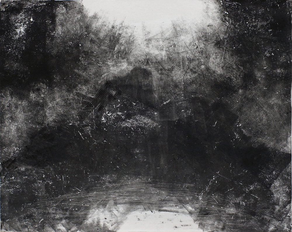 Mountain beyond Moonlight Veil ( Monoprint ) 23.5 x 29.5 cm
