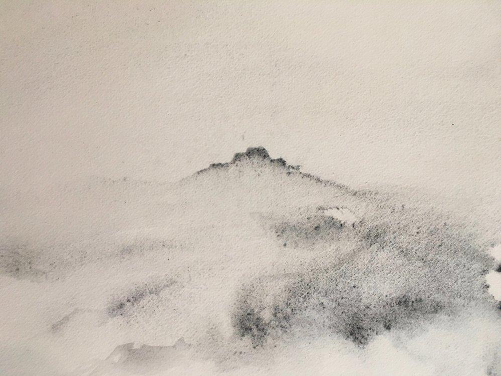 RHSK156 Ogura San Rain ( Local Charcoal on Paper ) 28 x 36.8 cm