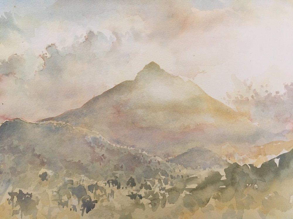RHSK150 Hill of Light Shikoku ( Watercolour ) 28 x 36.8 cm
