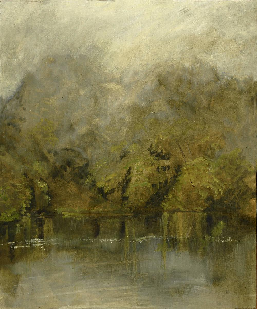 RHSK105 Matsubarako Lake Summer Rain Mist ( Oil on Linen ) 110 x 91.5 cm