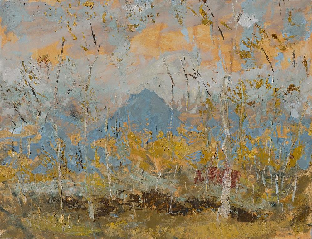 RHSK064 Ogura San beyond Silver Birch II ( Oil on Panel ) 46 x 60 cm