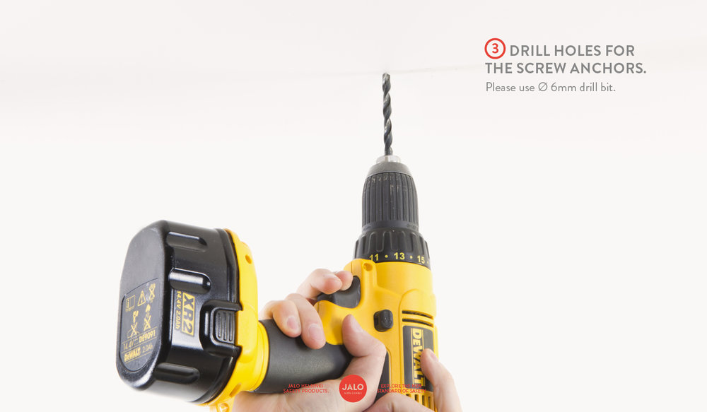 Drill holes for screw anchors