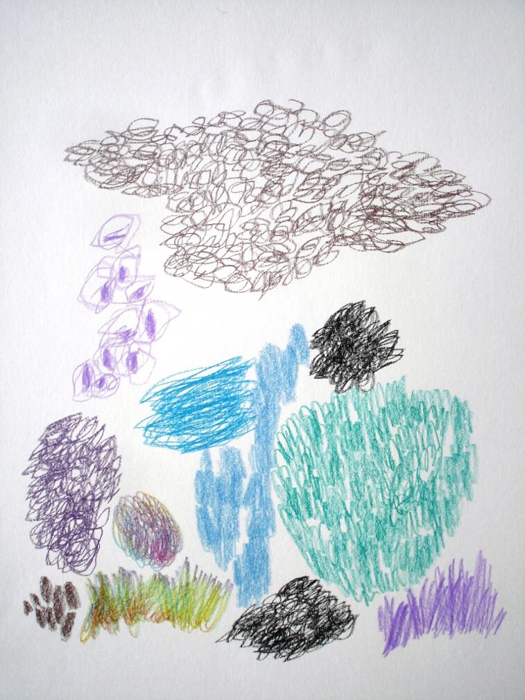 farbstift auf papier auf leinwand