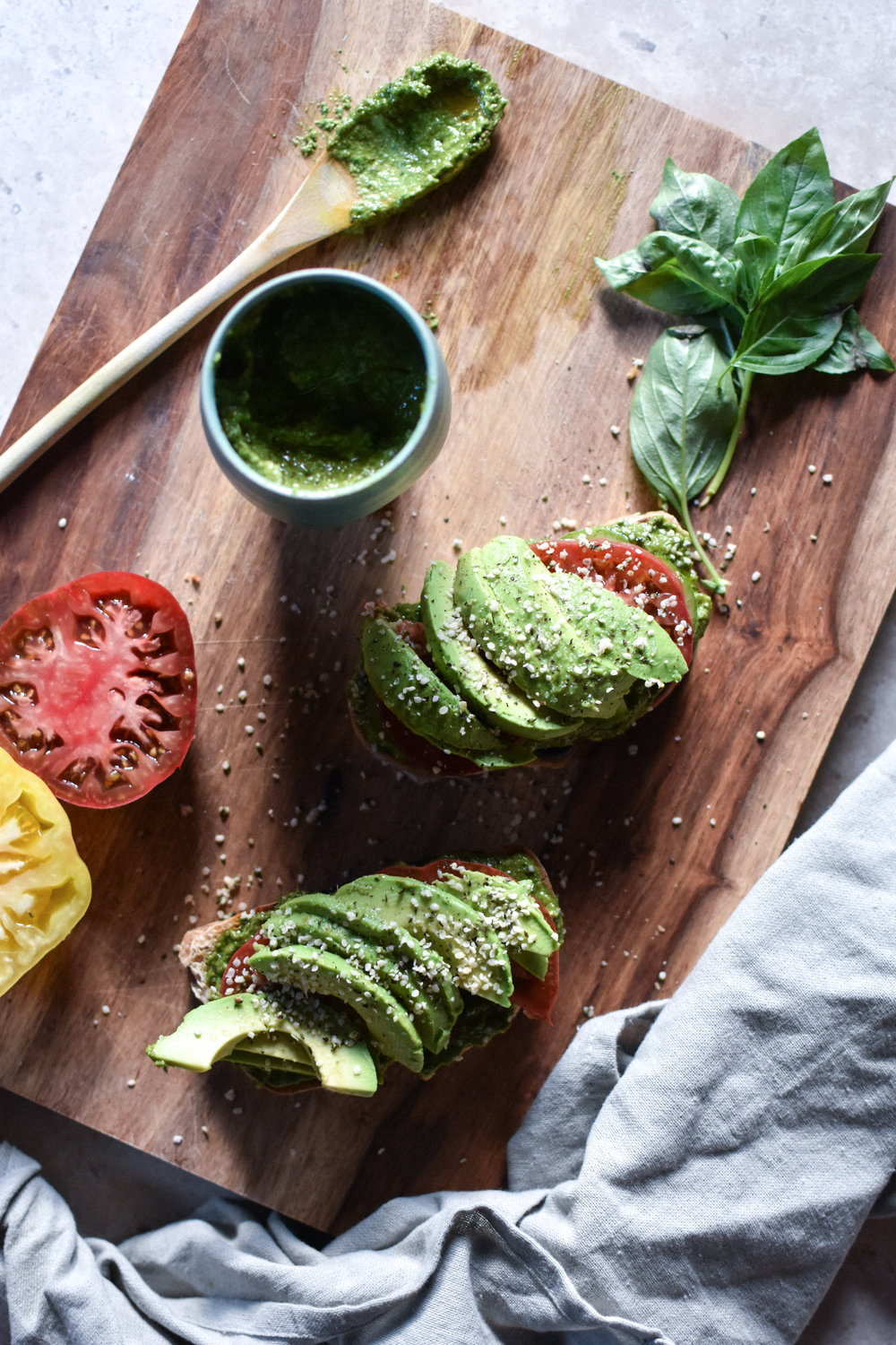 avocado toast with walnut pesto - Make Mary