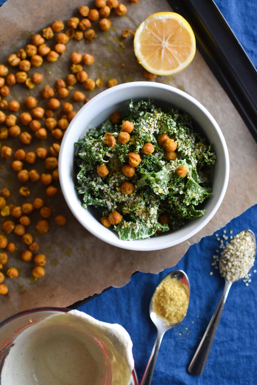 kale caesar salad with roasted chickpeas {vegan, gf}