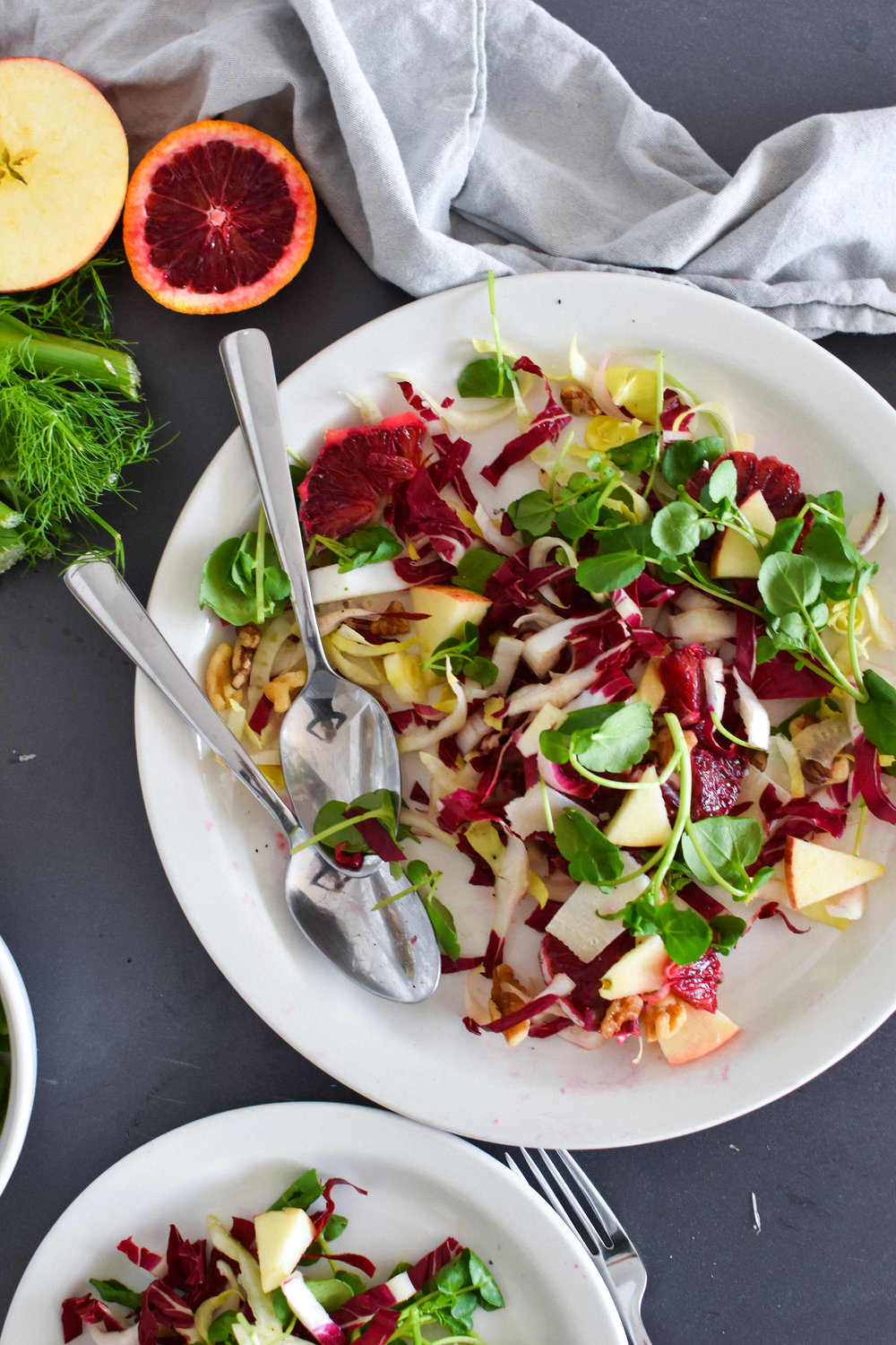 chicory salad with blood orange, apple & fennel