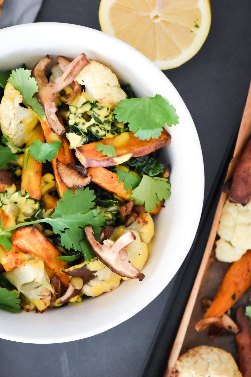 hippie bowl with roasted veggies and turmeric sauce