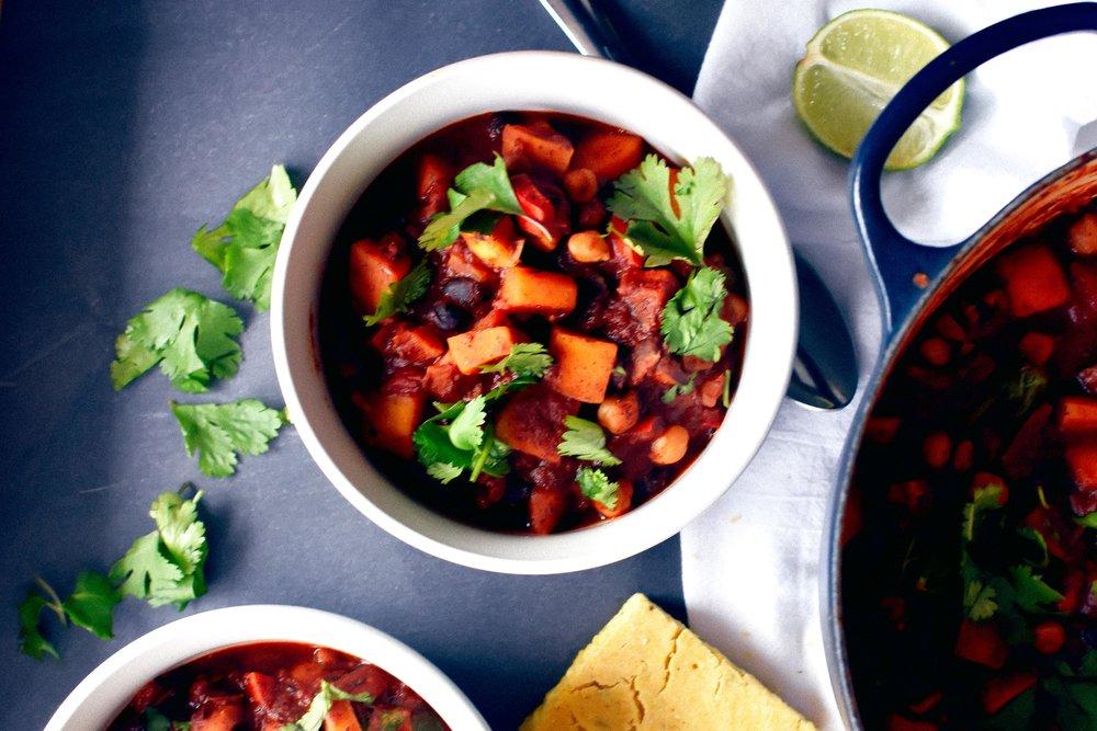 veggie chili with butternut squash