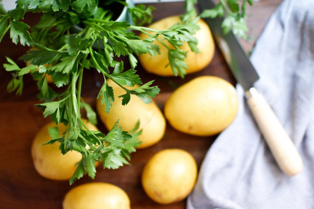 Grilled Lemon Potatoes with Lemon & Parsley