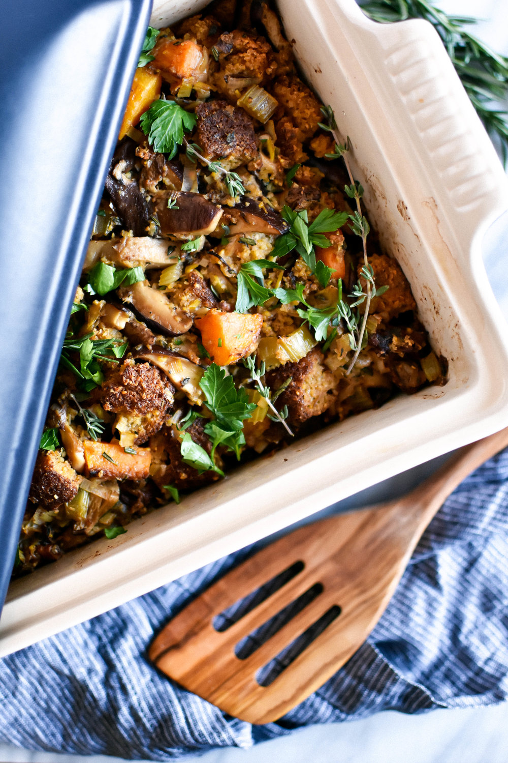 Vegan and gluten-free cornbread stuffing
