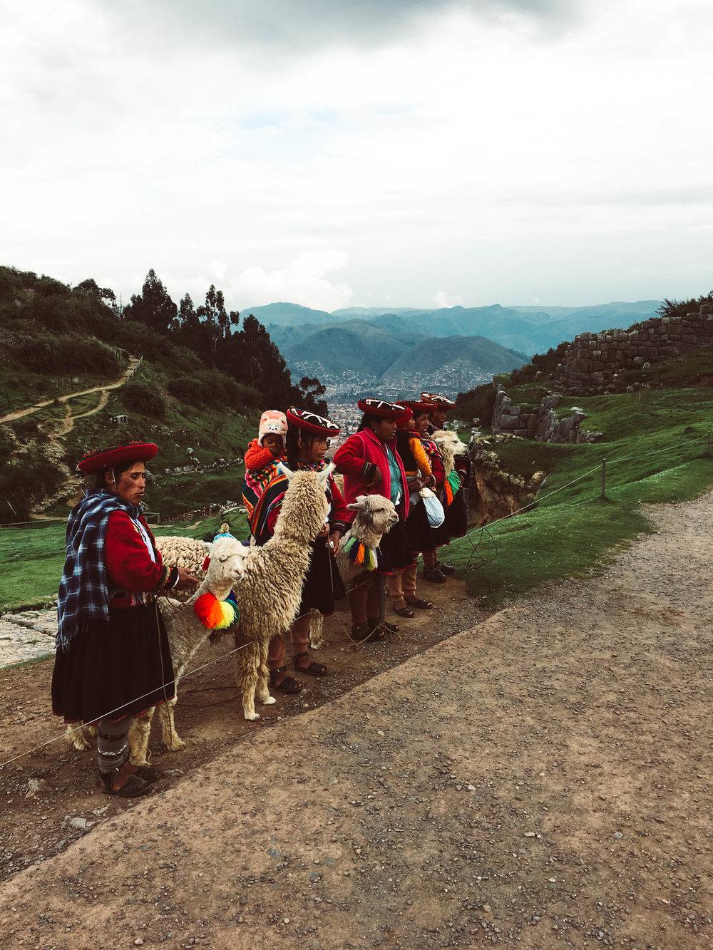 Llama women at Sacsayhuaman Cuzco