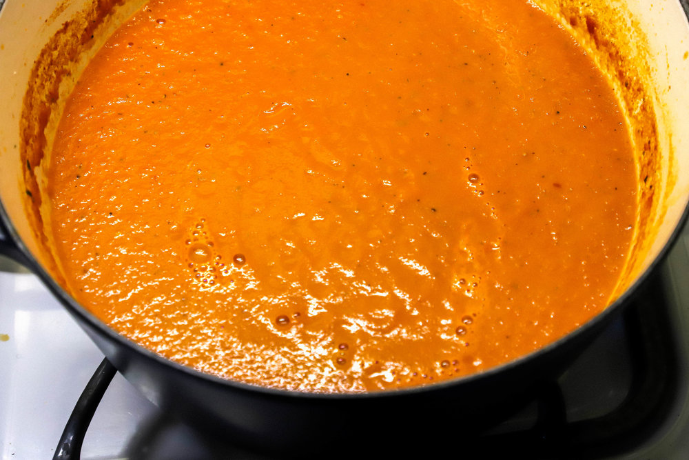 Easy homemade vegan and gluten-free tomato soup in a pot
