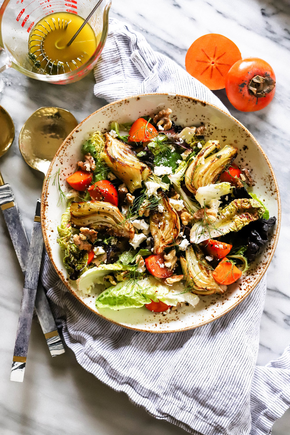 roasted fennel and persimmon salad with walnuts and lemon thyme dressing