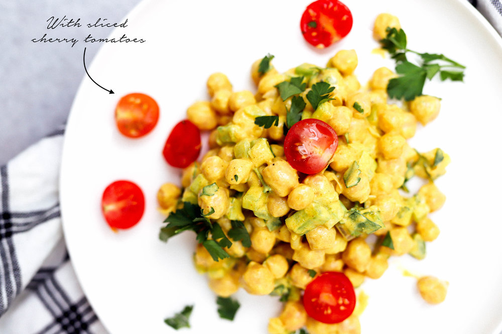 curried chickpea salad with sliced tomatoes