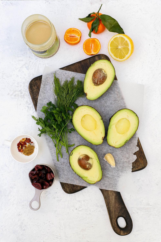 Ingredients for making avocado smash