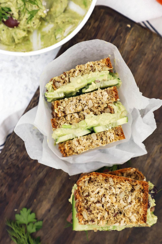 Vegan and gluten-free avocado smash sandwiches
