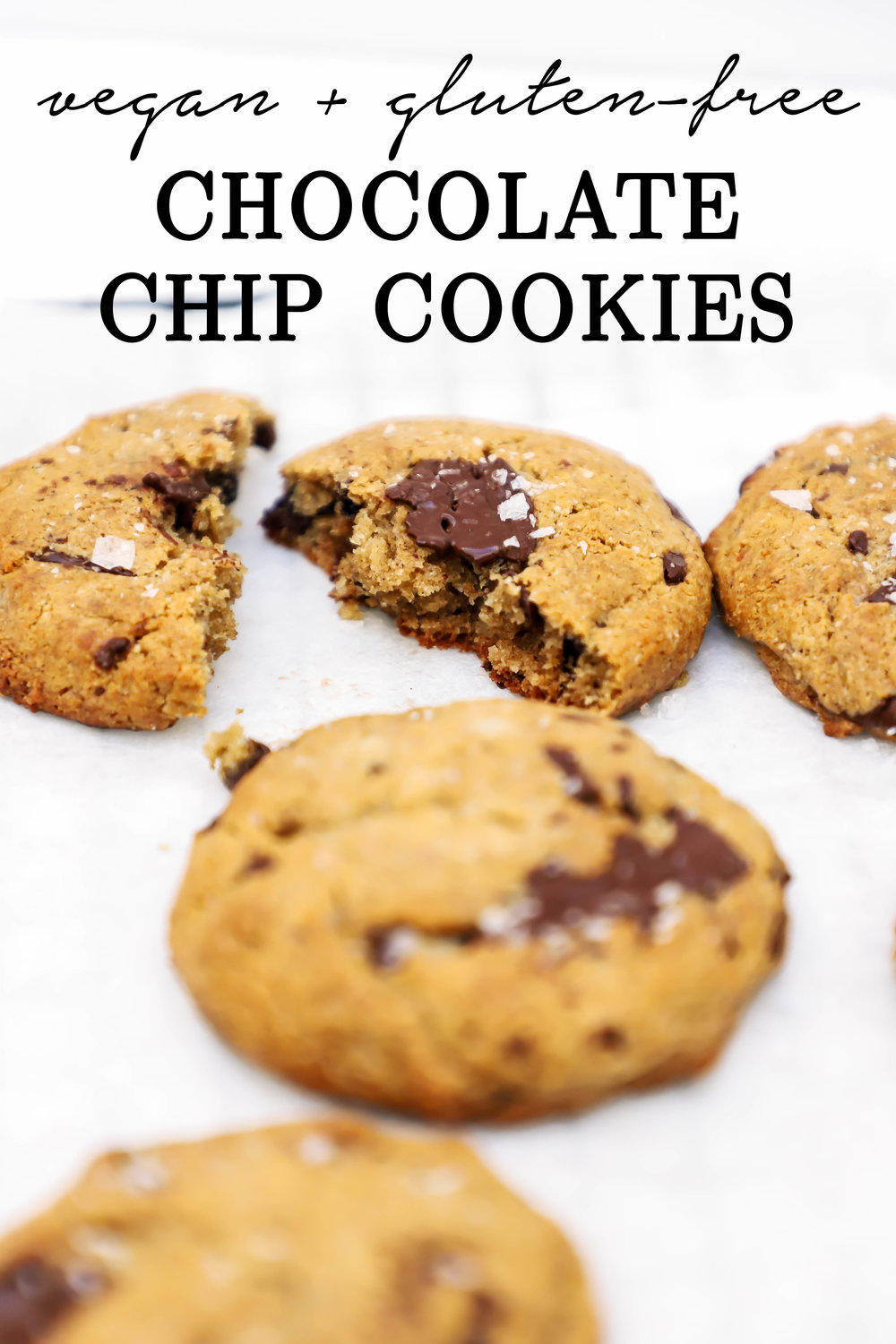 vegan and gluten-free chocolate chip cookies with tahini and coconut oil